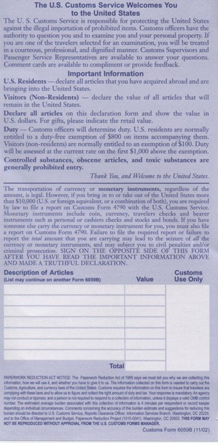 how to answer us customs declaration form